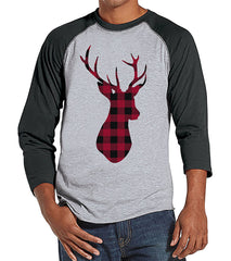 Plaid Deer - Men's Christmas Raglan Tee
