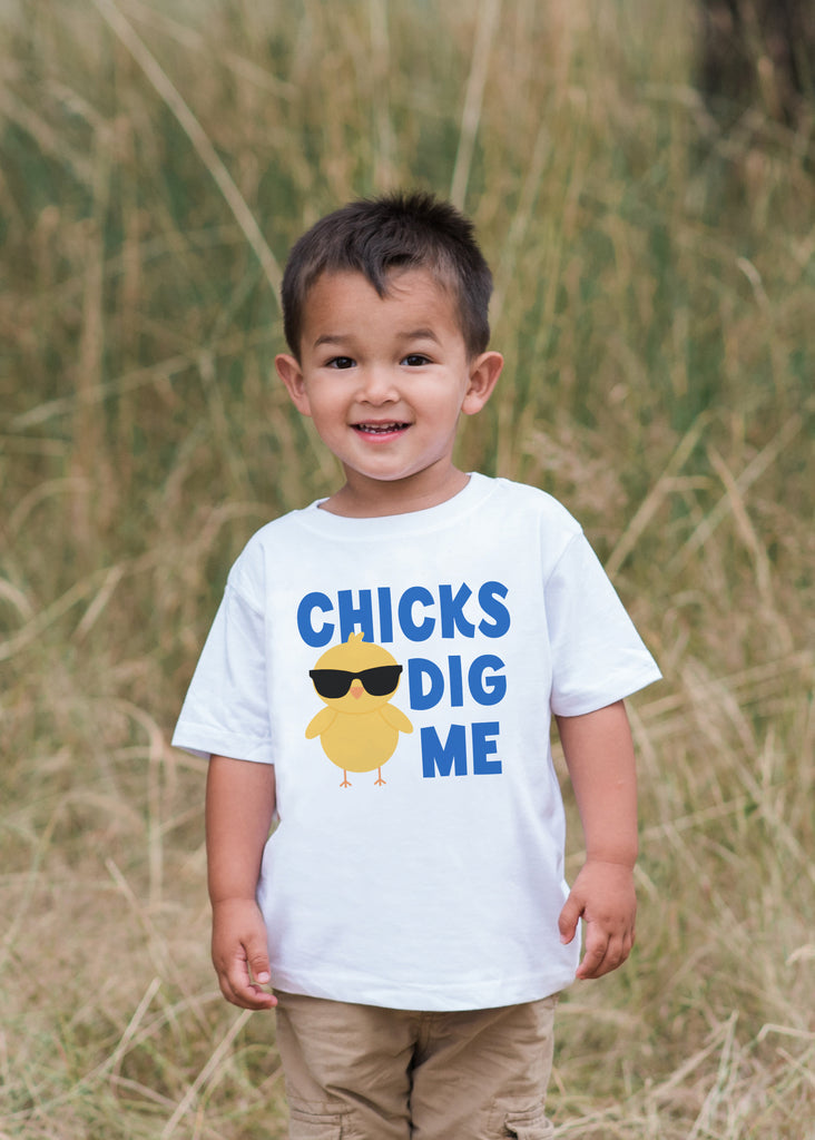 Boy Easter Outfit - Chicks Dig Me Onepiece - Boys Easter Shirt - Novelty Baby Chick Spring Bodysuit for Baby Boys - Funny Kids Easter Outfit