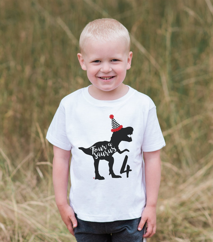 Dinosaur Birthday Shirt - Boys Fourasaurus 4th Birthday Dino Tshirt - Kids Dinosaur Birthday Party Shirt - Party Hat Dinosaur Birthday Shirt