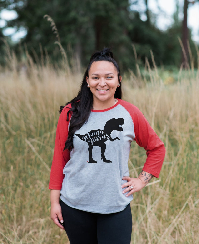 Mamasaurus Shirt - Women's Red Raglan Shirt - Women's Baseball Tee - Dinosaur Shirt - Mother's Day Gift Idea - Family Outfits - Gift for Her