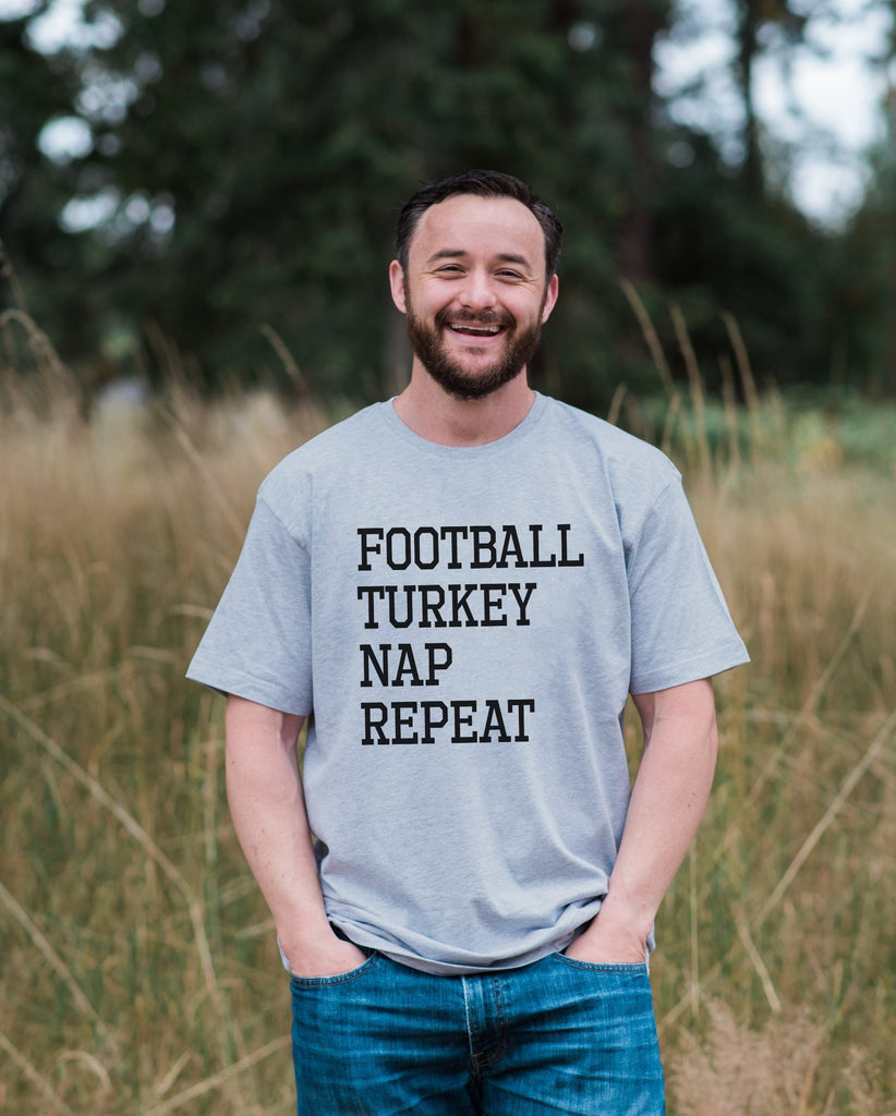 Football, Turkey, Nap, Repeat - Adult Thanksgiving Shirt - Funny Men's Thanksgiving Dinner Shirt - Mens Grey T-shirt - Funny Food Shirt