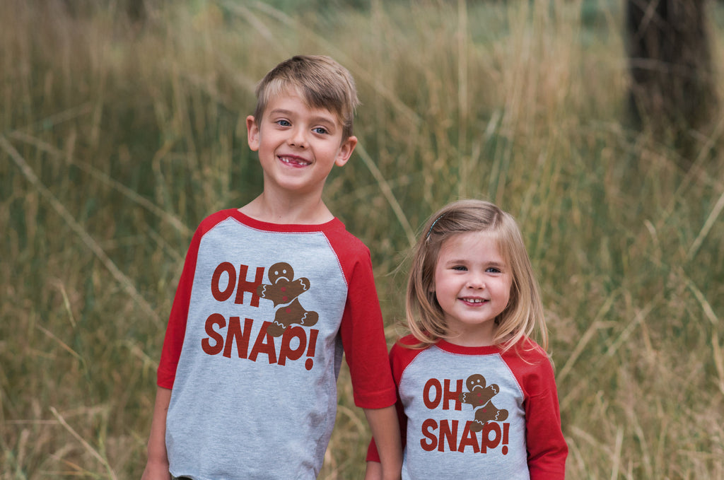 7 ate 9 Apparel Kids Oh Snap Christmas Red Raglan Tee