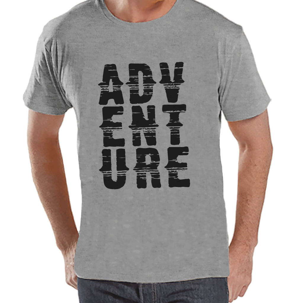 Mens Camping Shirt - Adventure Shirt - Mens Grey T-shirt - Men's Camping, Hiking, Outdoors, Mountain, Nature Tee - Funny Humorous T-shirt