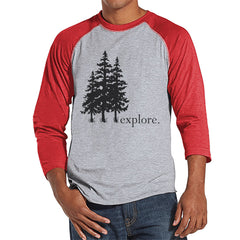Hiking Shirt - Explore Shirt - Men's Outdoors Red Raglan T-shirt - Mens Camping, Hiking, Outdoors, Nature Shirt - Baseball Tee, Gift for Him