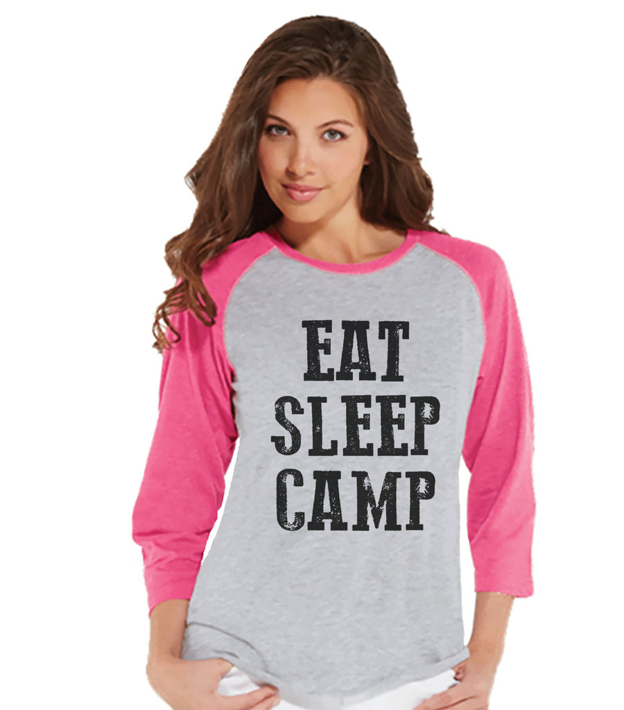 Ladies Camping Shirt - Eat Sleep Camp Shirt - Funny Womens Shirts - Women's Pink Raglan - Hiking, Camping, Outdoors, Mountain, Nature Shirt - 7 ate 9 Apparel
