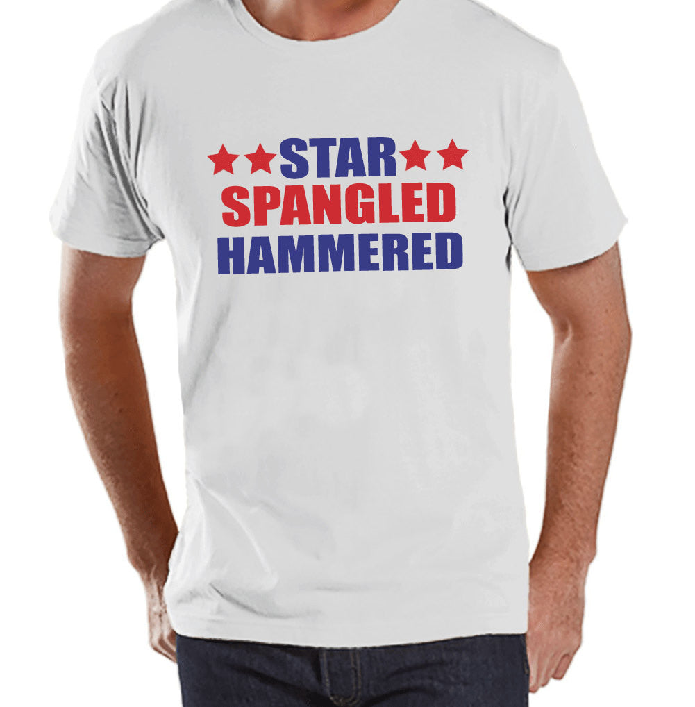 4th of July Shirt - Star Spangled Hammered Shirt - Men's White T-Shirt - Men's White Tee - Funny Fourth of July Shirt - Patriotic USA TShirt - 7 ate 9 Apparel