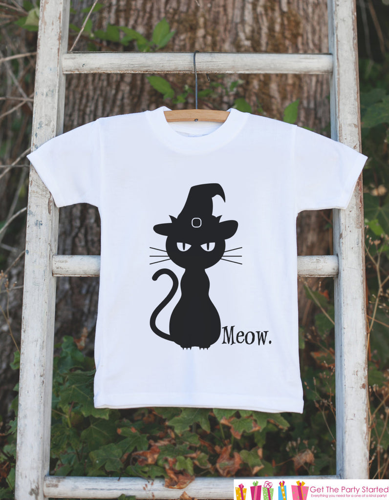 Kids Halloween Shirt - Black Cat Shirt - Meow. Cat Halloween Tshirt or Onepiece - Baby Boy or Baby Girl Halloween Outfit - Halloween Costume