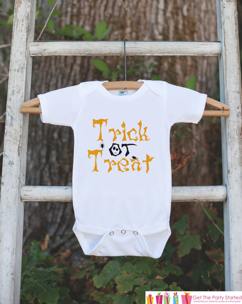 Kids Halloween Shirt - Trick or Treat Shirt - Halloween Tshirt or Onepiece - Baby Boy or Baby Girl Halloween Outfit - Halloween Costume