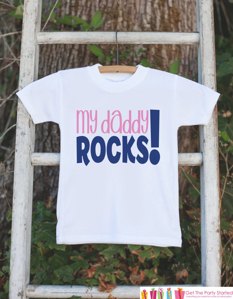 Girls My Daddy Rocks - Kids Happy 1st Fathers's Day Onepiece or Tshirt - Youth, Toddler, Kids, Baby Shower Gift Idea - First Fathers Day