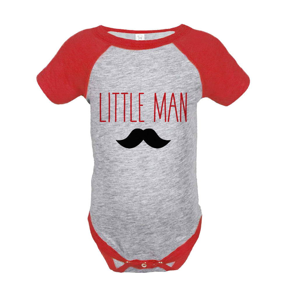 Boys Little Man Outfit - Mustache Red Raglan Shirt - Big Man Little Man - Happy Fathers Day Gift, Boys Onepiece or Shirt - Toddler, Youth - 7 ate 9 Apparel