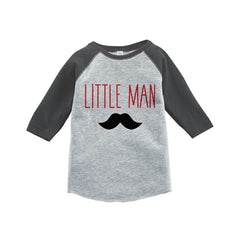 Boys Little Man Outfit - Mustache Grey Kid Raglan - Big Man Little Man - Happy Fathers Day Gift, Boys Onepiece or Shirt - Toddler, Youth - 7 ate 9 Apparel