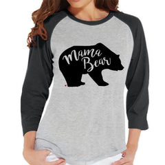 Mama Bear Shirt - Women's Grey Raglan Shirt - Women's Baseball Tee - Mom and Me Outfit - Mother's Day Gift - Family Outfits - Gift for Her - 7 ate 9 Apparel