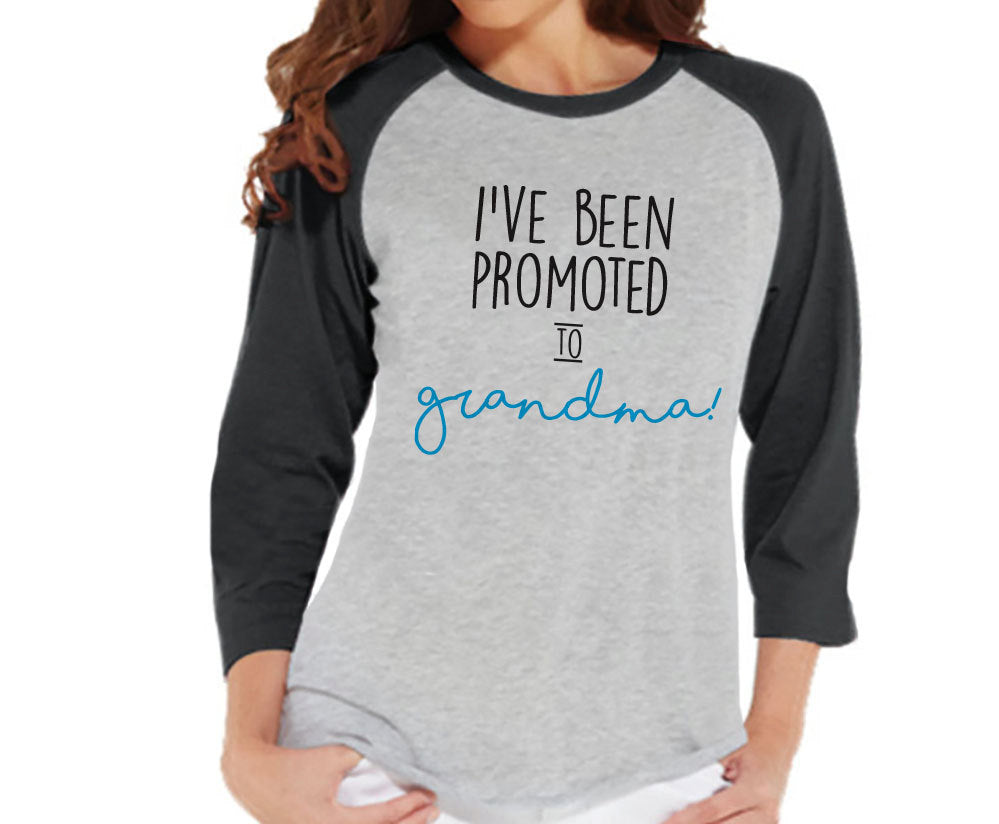 Pregnancy Announcement - Promoted to Grandma Shirt - Grey Raglan Shirt - Pregnancy Reveal Idea - Surprise New Grandparents - Its a Boy