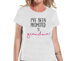 Pregnancy Announcement - Promoted to Grandma Shirt - White T Shirt - Pregnancy Reveal Idea - Surprise New Grandparents - Its a Girl - 7 ate 9 Apparel