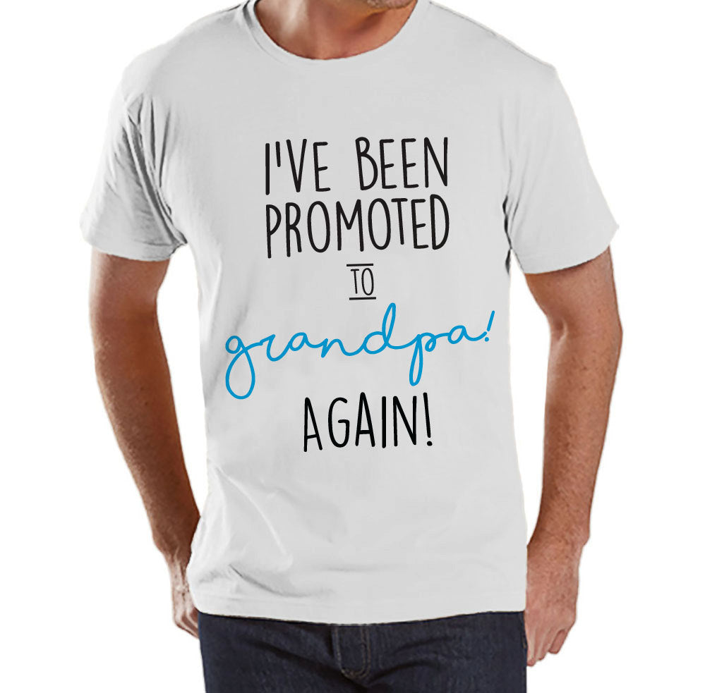 Pregnancy Announcement - Promoted to Grandpa Again - Mens White T Shirt - Pregnancy Reveal Idea - Surprise New Grandparents - Its a Boy