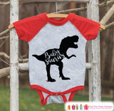 Baby Dinosaur Onepiece - Babysaurus Red Raglan Onepiece - Baby Baseball Onepiece - Cute Baby Outfit Dinosaur Outfit for Baby - Family Shirts - 7 ate 9 Apparel
