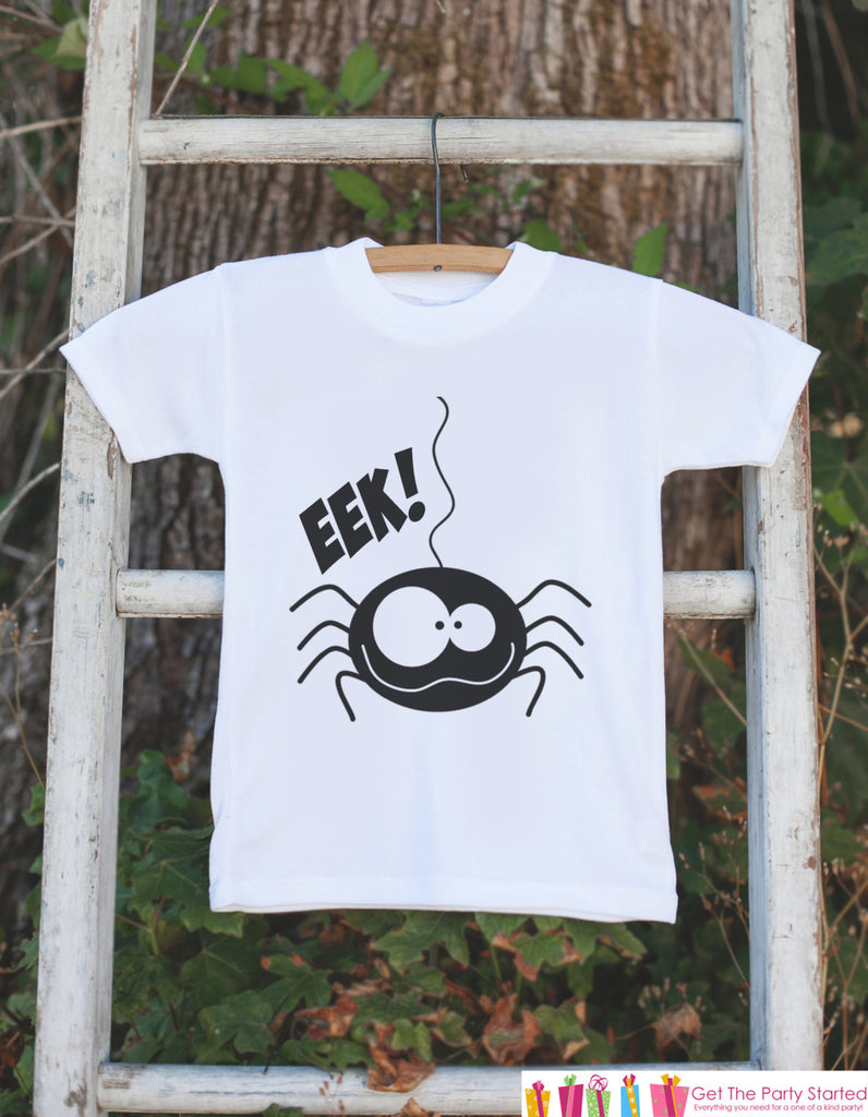 Spider Shirt - EEK! Black Spider Halloween Onepiece - Funny Baby Halloween Outfit - Onepiece Bodysuit for Baby - Novelty Halloween Shirt