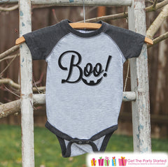 Kids Halloween Shirt - Boy or Girl's Boo Outfit - Grey Raglan Tshirt or Onepiece - Halloween Shirt - Kids Halloween Costume - Trick or Treat