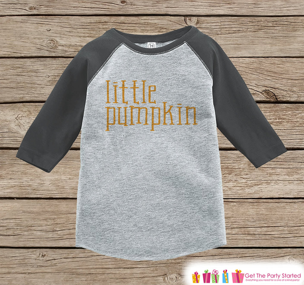 Kids Halloween Outfit - Girls or Boys Little Pumpkin Halloween Top - Grey Raglan Tshirt or Onepiece - 1st Halloween - Kids Halloween Costume