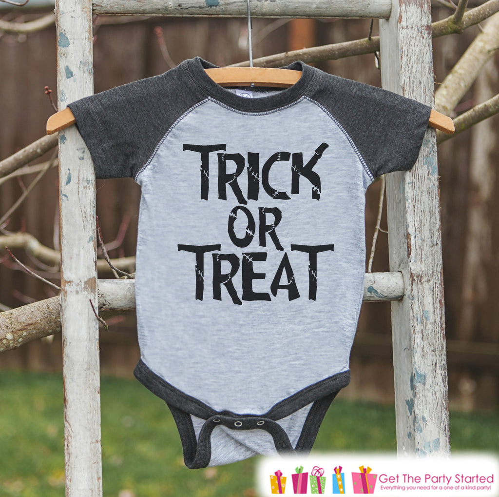Kids Halloween Outfit - Girls or Boys Trick or Treat Halloween Top - Grey Raglan Tshirt or Onepiece - 1st Halloween - Kids Halloween Costume