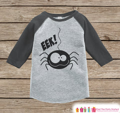 Kids Halloween Outfit - Girls or Boys Eek! Spider Shirt - Grey Raglan Tshirt or Onepiece - 1st Halloween Top - Kids Funny Halloween Costume