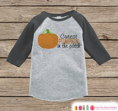 Cutest Pumpkin In the Patch - Kids Halloween Outfit - Girls or Boys Pumpkin Shirt - Grey Raglan Tshirt or Onepiece - Kids Halloween Costume