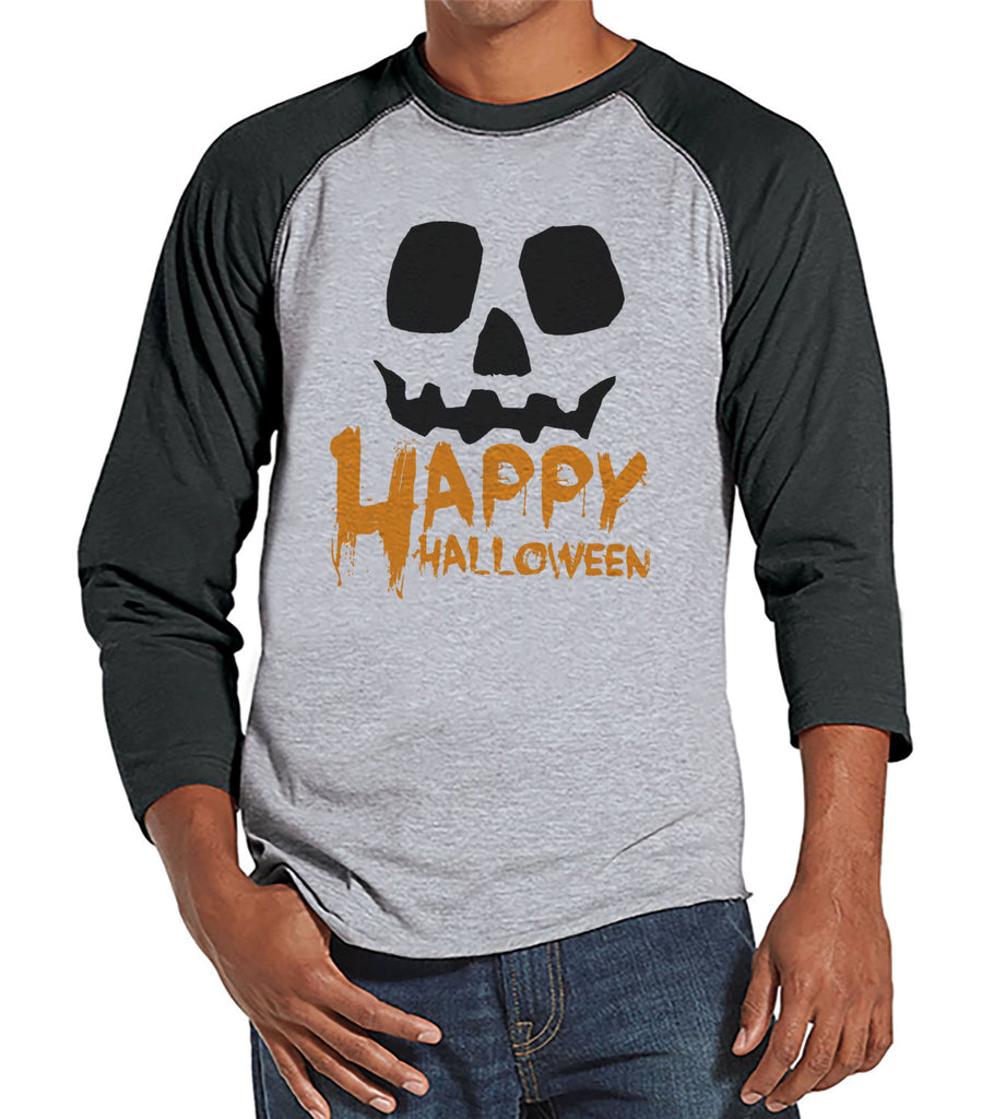 Men's Happy Halloween Shirt - Adult Halloween Costumes - Funny Men's Shirt - Mens Costume Tshirt - Mens Grey Raglan Tee - Happy Halloween
