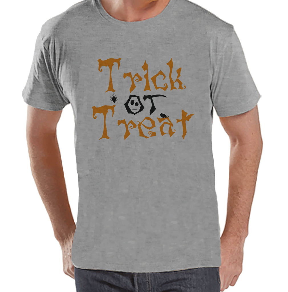 Trick or Treat Shirt - Adult Halloween Costumes - Men's Shirt - Mens Costume Tshirt - Mens Grey T-shirt - Orange and Black Halloween Top