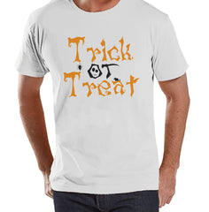Trick or Treat Shirt - Adult Halloween Costumes - Men's Shirt - Mens Costume Tshirt - Mens White T-shirt - Orange and Black Halloween Top