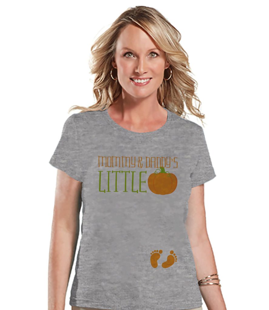 Halloween Pregnancy Announcement - Little Pumpkin Pregnancy Reveal Tshirt - Halloween Pregnancy Shirt - Grey Tshirt - Pregnancy Reveal Idea
