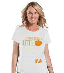 Halloween Pregnancy Announcement - Little Pumpkin Pregnancy Reveal Tshirt - Halloween Pregnancy Shirt - White Tshirt - Pregnancy Reveal Idea