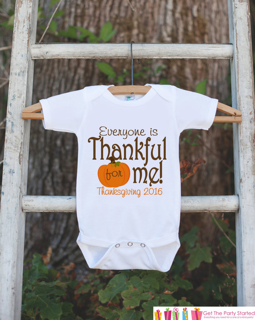 Kids Thankful For Me Thanksgiving Outfit - Thanksgiving Onepiece or Tshirt - Boy or Girls Thanksgiving Shirt - Pumpkin Fall Thankful For Me