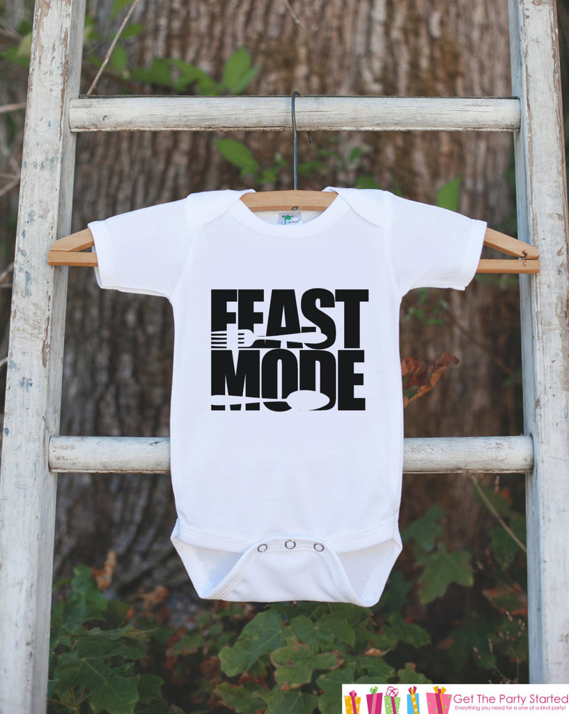 Feast Mode Outfit - Kids Thanksgiving Dinner Tshirt or Onepiece - Funny Kids Thanksgiving Outfit - Boy or Girl Thanksgiving Shirt - 7 ate 9 Apparel