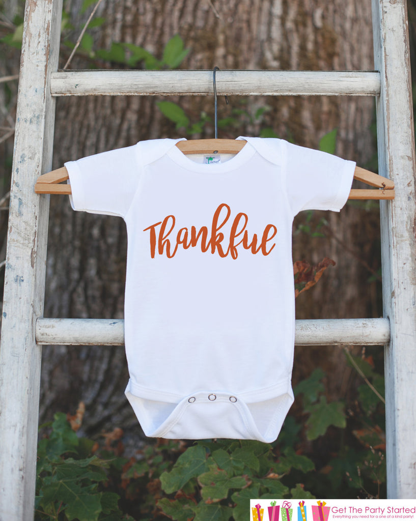 Thankful Shirt - Kids Thanksgiving Outfit - Thanksgiving Tshirt or Onepiece - Newborn Thanksgiving Outfit - Boy or Girl Thanksgiving Tshirt