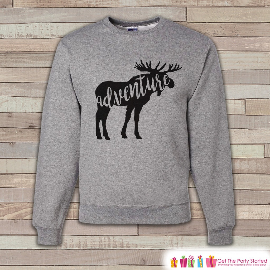Camping Sweatshirt - Men's Crewneck Sweatshirt - Adventure Adult Grey Sweatshirt - Outdoors Sweatshirt - Gift for Him - Moose Sweatshirt