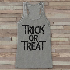 Trick or Treat Halloween Costumes - Adult Halloween Costume - Womens Tank Top - Women's Costume Shirt - Grey Tank Top - Happy Halloween