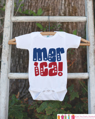 Kids 4th of July Outfit - Patriotic 'Merica Onepiece or Tshirt - Fourth of July Shirt for Baby, Toddler, Youth - Kids Patriotic Shirt - 7 ate 9 Apparel