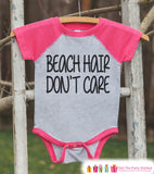 Beach Hair Don't Care Onepiece or Raglan - Summer Outfit For Kids - Pink Baseball Tee or Onepiece - Summer Outfit for Baby, Youth, Toddler - 7 ate 9 Apparel