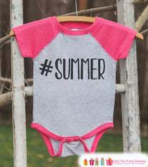 Hashtag Summer Onepiece or Raglan - Fun Summer Outfit For Kids - Pink Baseball Tee or Onepiece - Summer Outfit for Baby, Youth, Toddler - 7 ate 9 Apparel