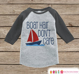 Boat Hair Don't Care Onepiece or Raglan - Summer Outfit, Kids - Grey Baseball Tee or Onepiece - Fun Outfit for Baby, Youth, Toddler - 7 ate 9 Apparel