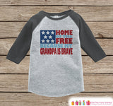 4th of July Outfit - Military Grandpa Onepiece or Tshirt - Kids Grey Raglan, Baseball Shirt - Grandpa Is Brave Onepiece or T-shirt - 7 ate 9 Apparel