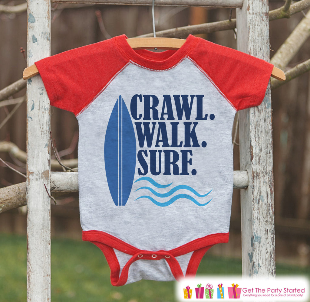 Crawl Surf Walk Raglan Onepiece or T-shirt - Custom Summer Outfit For Kids, Infants - Red Raglan Shirt, Baseball Tee or Baby Onepiece - 7 ate 9 Apparel