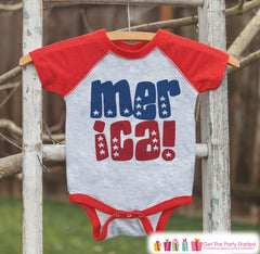 Kids 'Merica Outfit - 4th of July Onepiece or T-shirt - Red Raglan Shirt, Baseball Tee - American Pride Shirt, Baby, Toddler, Youth - 7 ate 9 Apparel