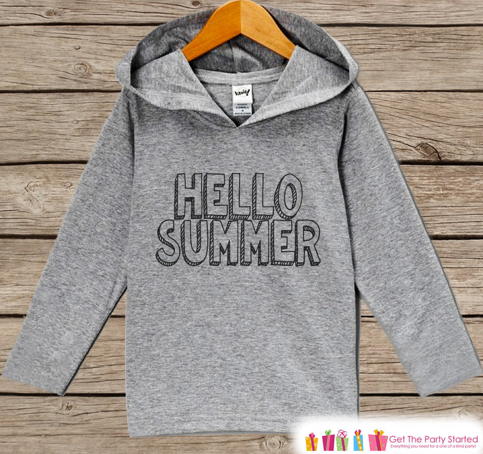 Kids Hello Summer Hoodie - Fun Summer Outfit - Children's Pullover - Grey Toddler, Infant Hoodie - Cute Beach Outfit Baby, Toddler, Youth