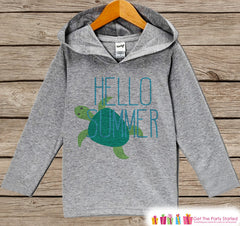 Kids Hello Summer Turtle Hoodie - Fun Summer Outfit - Children's Pullover - Grey Toddler, Infant Hoodie - Beach Outfit Baby, Toddler, Youth