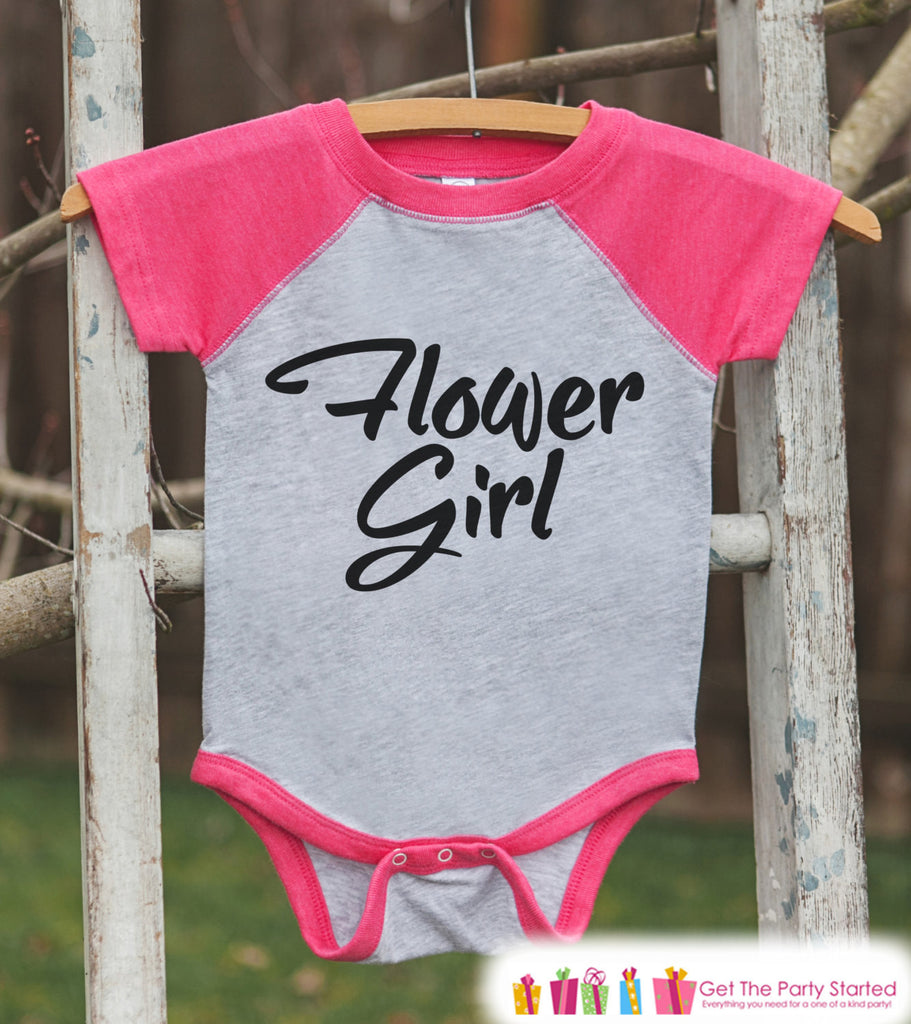 Flower Girl Outfit - Simple Flower Girl T-shirt Girls - Pink Raglan Tee or Onepiece - Will you be my Flowergirl - Novelty Flower Girl Gift - 7 ate 9 Apparel
