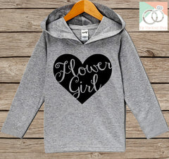 Girls Wedding Hoodie - Flower Girl Heart Oufit - Grey Hoodie Kids, Toddler, Baby - Kids Wedding Outfit - Flower Girl Pullover - Wedding Gift - 7 ate 9 Apparel