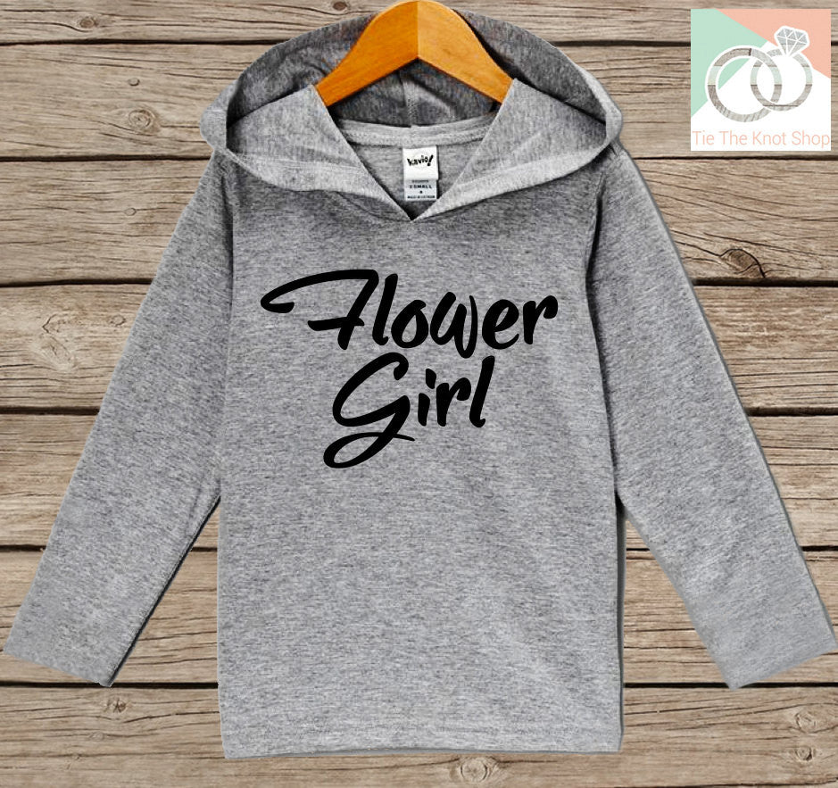 Girls Wedding Hoodie - Flower Girl Oufit - Grey Hoodie Kids, Toddler, Baby - Kids Wedding Outfit - Flower Girl Pullover - Wedding Gift - 7 ate 9 Apparel