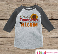 Thanksgiving Outfit - Little Pilgrim Shirt - Boy or Girl Happy Thanksgiving Shirt - Grey Raglan Tshirt or Onepiece - Thanksgiving Shirt