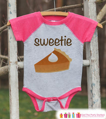 Sweetie Pie Shirt - Kids Thanksgiving Outfit - Girls Happy Thanksgiving Shirt - Pink Raglan Tshirt or Onepiece - Kids Sweetie Pie Outfit